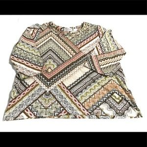 Alfred Dunner Aztec Beaded Collar Blouse XL